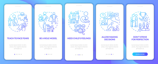 Bringing up tips blue gradient onboarding mobile app page screen