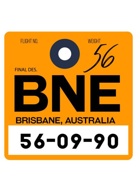 Brisbane airport luggage tag vector art illustration