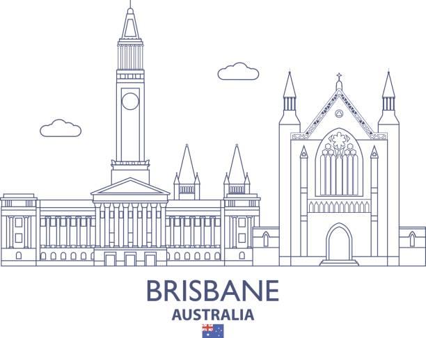 Brisbane City Skyline, Australia vector art illustration