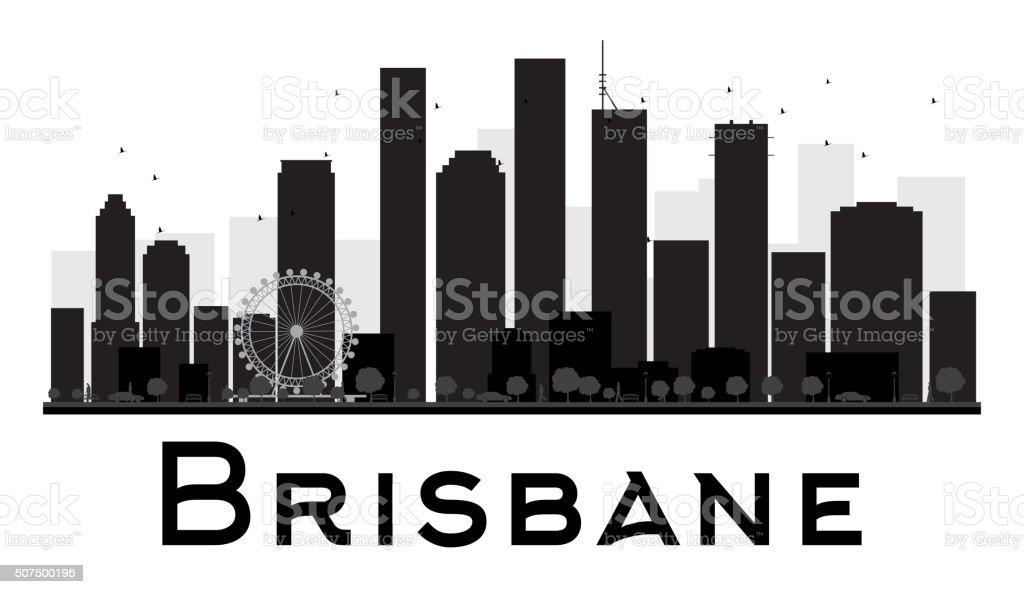 Brisbane City skyline black and white silhouette. vector art illustration