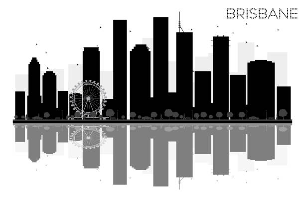 Brisbane City skyline black and white silhouette with reflections. vector art illustration
