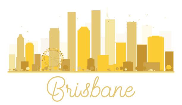 Brisbane City skyline golden silhouette. vector art illustration