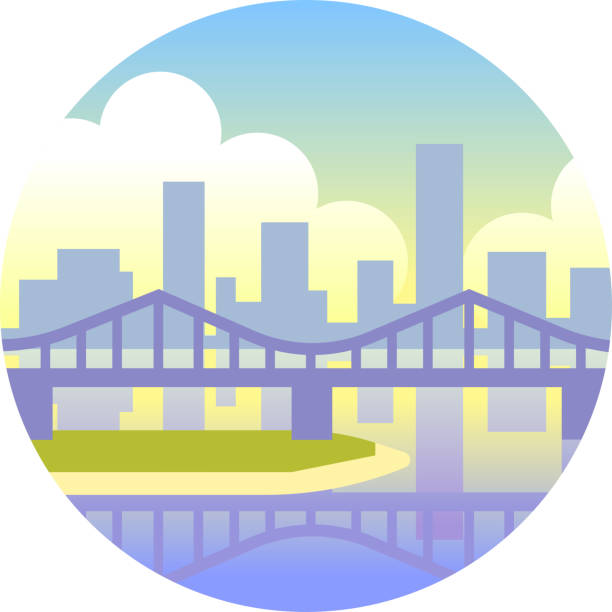 Brisbane gradient illustration vector art illustration