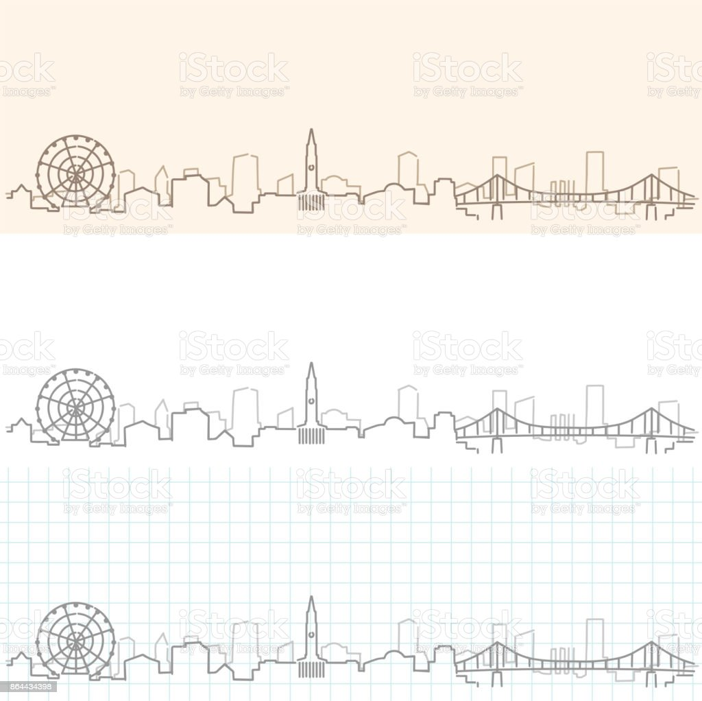 Brisbane Hand Drawn Skyline vector art illustration