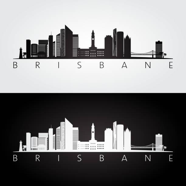 Brisbane skyline and landmarks silhouette, black and white design, vector illustration. vector art illustration