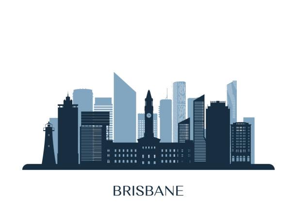 Brisbane skyline, monochrome silhouette. Vector illustration. vector art illustration