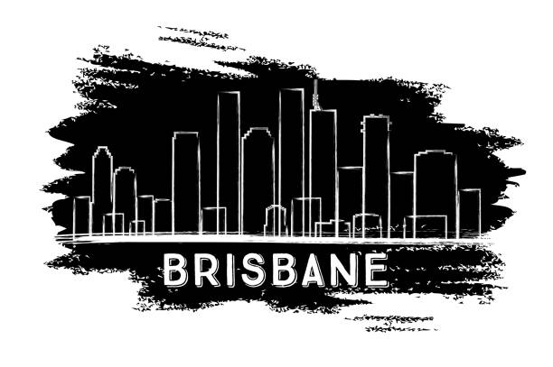 Brisbane Skyline Silhouette. Hand Drawn Sketch. vector art illustration