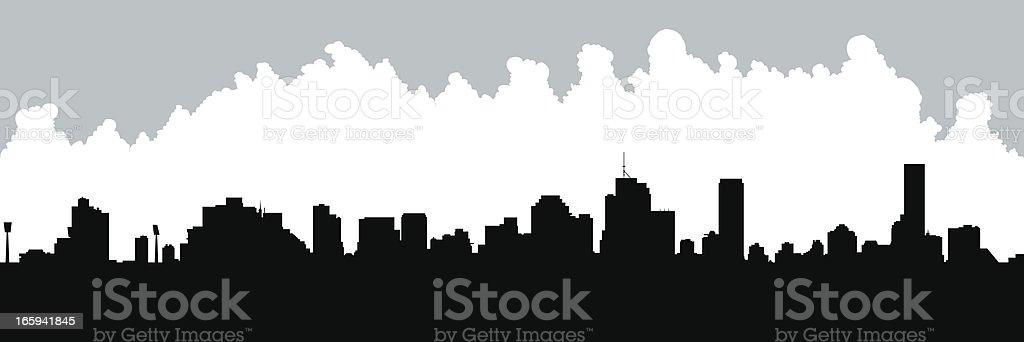 Brisbane Skyline Silhouette vector art illustration