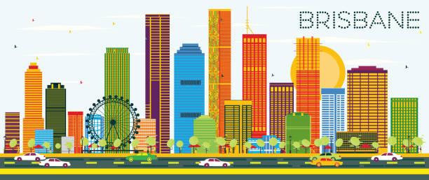 Brisbane Skyline with Color Buildings and Blue Sky. vector art illustration