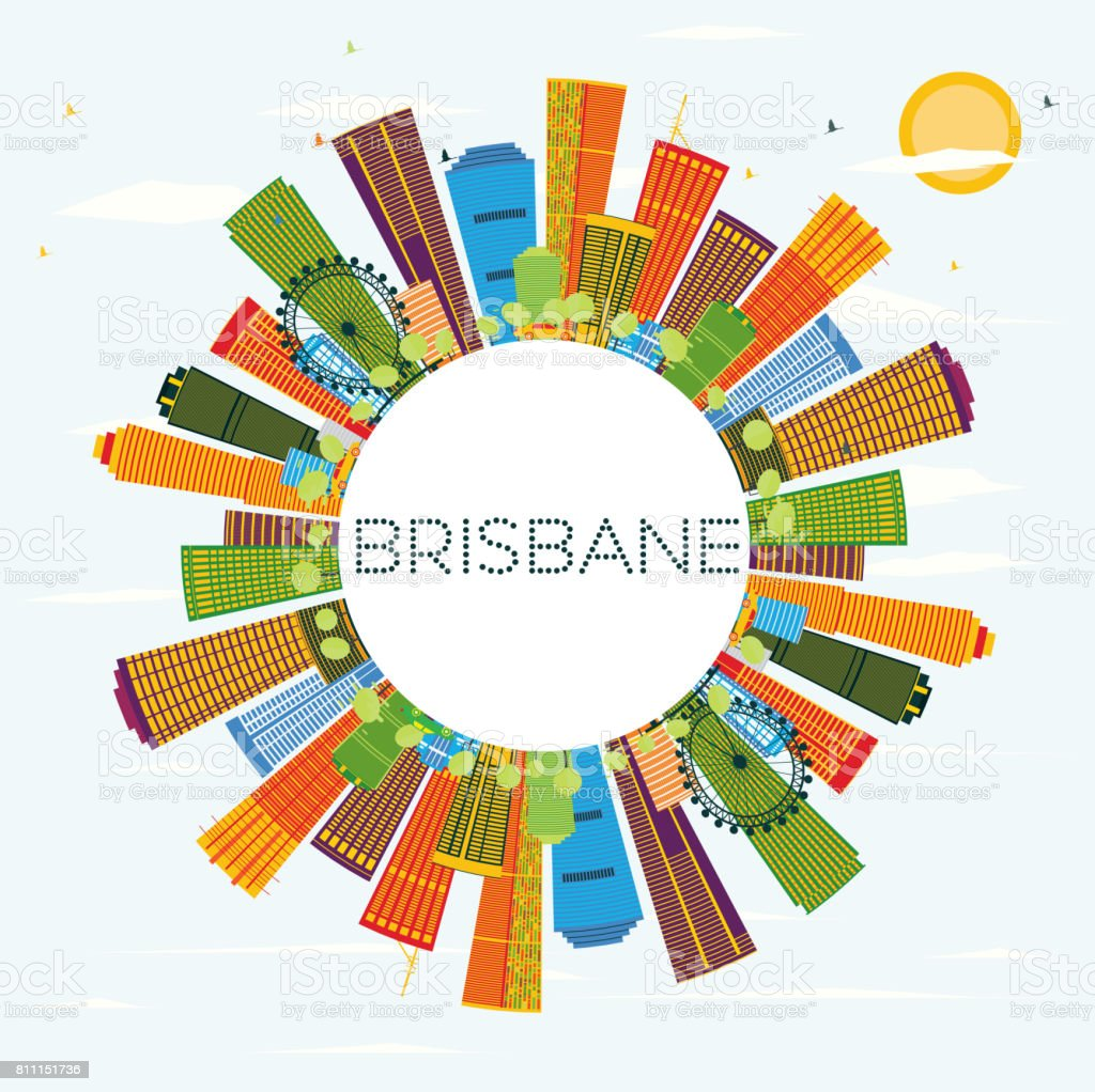 Brisbane Skyline with Color Buildings, Blue Sky and Copy Space. vector art illustration