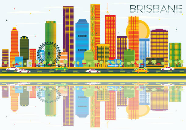 Brisbane Skyline with Color Buildings, Blue Sky and Reflections. vector art illustration