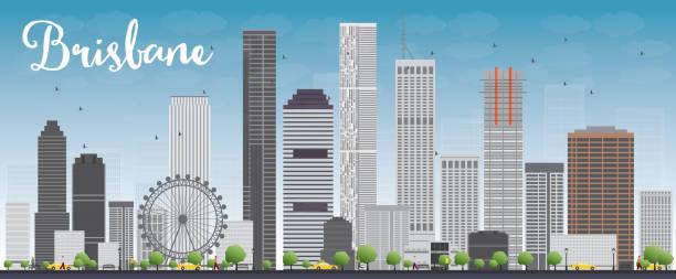 Brisbane skyline with grey building and blue sky vector art illustration