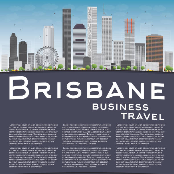 Brisbane skyline with grey building, blue sky and copy space vector art illustration
