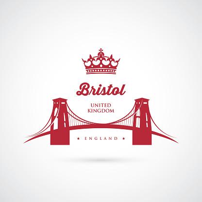 Bristol Clifton suspension bridge sign - vector illustration