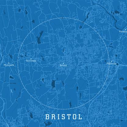 Bristol CT City Vector Road Map Blue Text