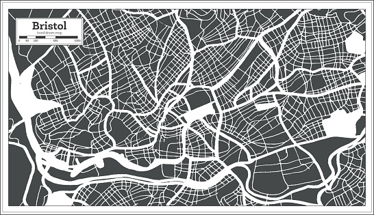 Bristol Great Britain City Map in Black and White Color in Retro Style. Outline Map.