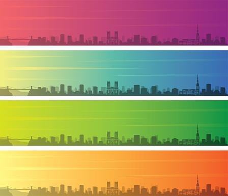 Bristol Multiple Color Gradient Skyline Banner