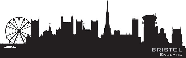 Bristol UK city skyline silhouette