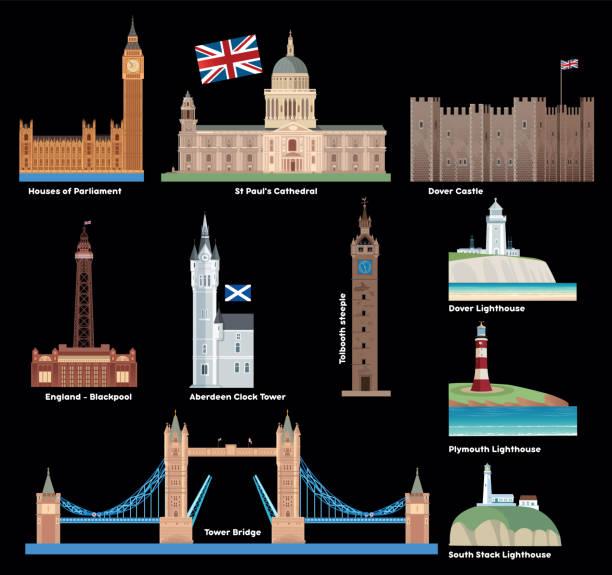 großbritannien, großbritannien, england symbole - blackpool stock-grafiken, -clipart, -cartoons und -symbole