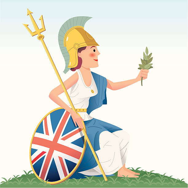 britannia -  she's on the money! - russelltatedotcom stock illustrations