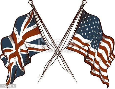 Vintage-style illustrations of the British and American flags.