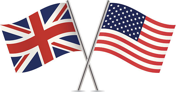 british and american flags. vector. - union jack flag stock illustrations, clip art, cartoons, & icons