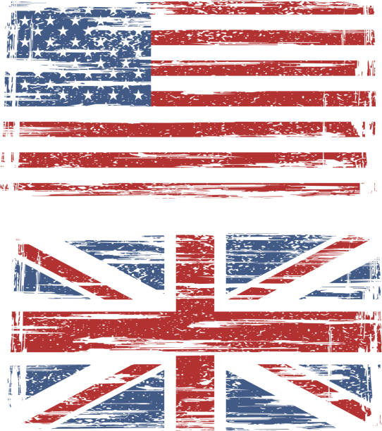 British and American grunge flags Vector illustration. Included AI and CDR files distressed american flag stock illustrations