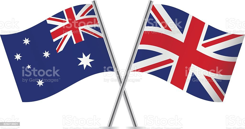 英国、オーストラリア国旗。 ベクトルます。 ベクターアートイラスト