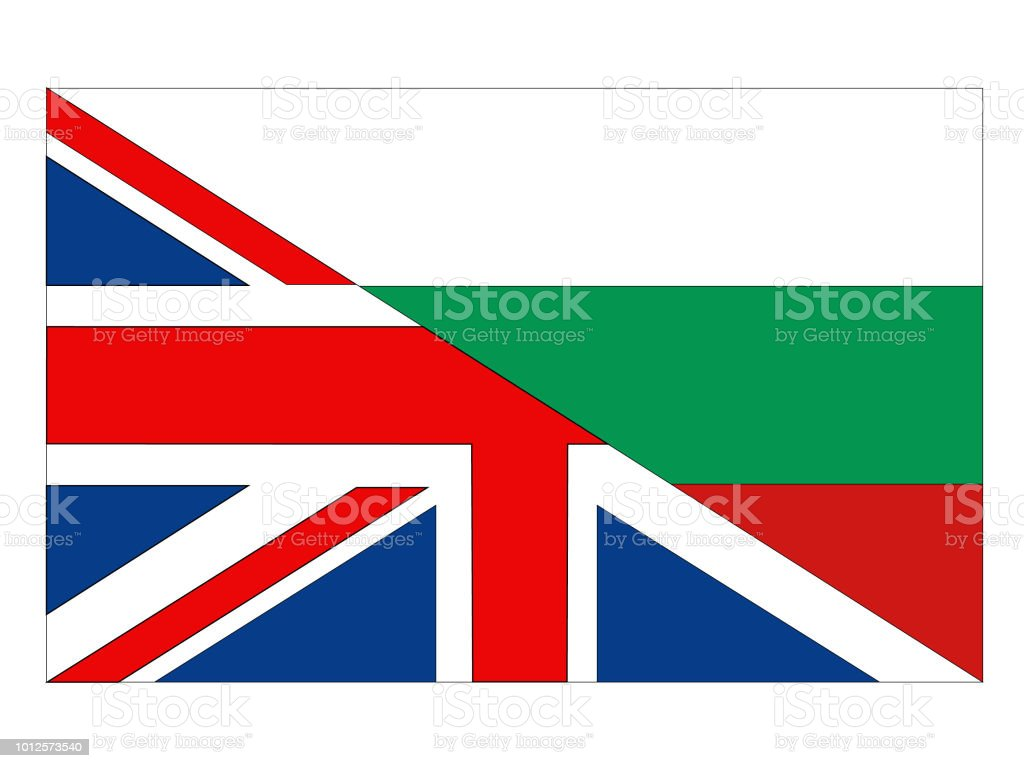 British and Bulgarian flags vector art illustration