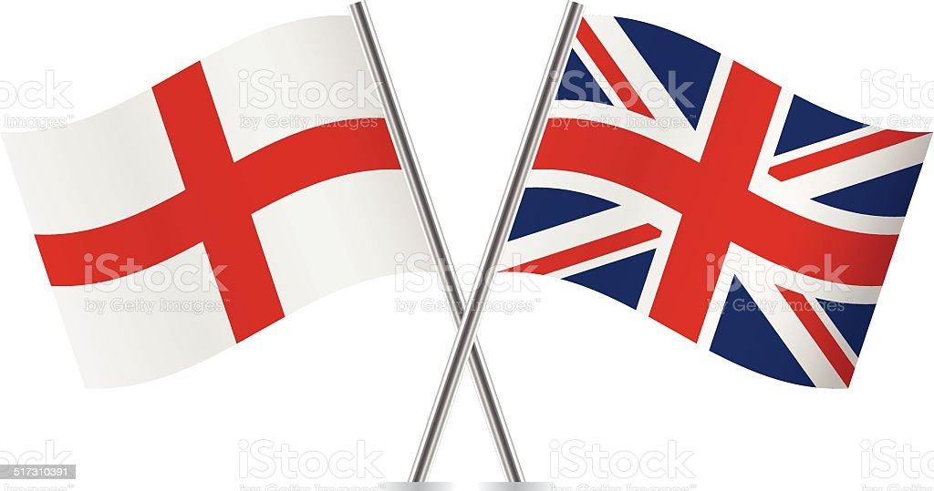 British and English flags. Vector. vector art illustration