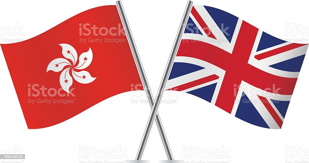 British and Hong Kong flags. Vector. vector art illustration