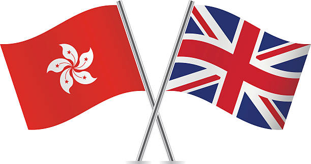british and hong kong flags. vector. - union jack flag stock illustrations, clip art, cartoons, & icons
