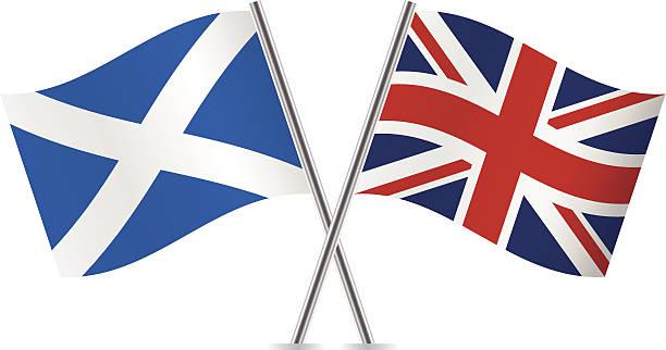 ilustraciones, imágenes clip art, dibujos animados e iconos de stock de banderas británicas y escocia.  vector. - bandera británica