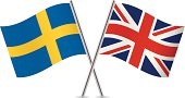 British and Swedish flags. Vector.