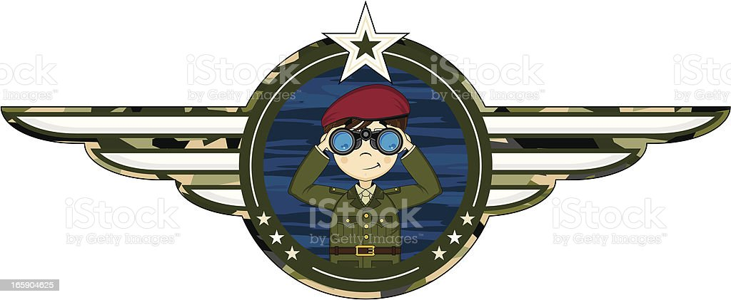 British Army Officer with Binoculars Badge royalty-free stock vector art