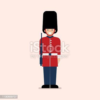 British Army soldier. Flat style vector illustration.