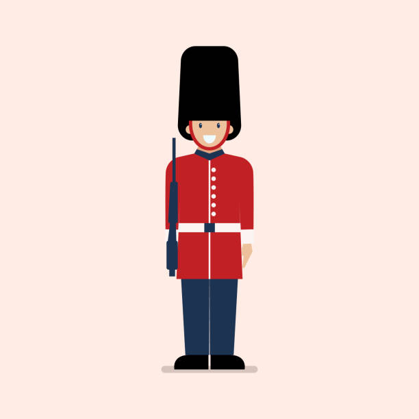 British Army soldier vector art illustration