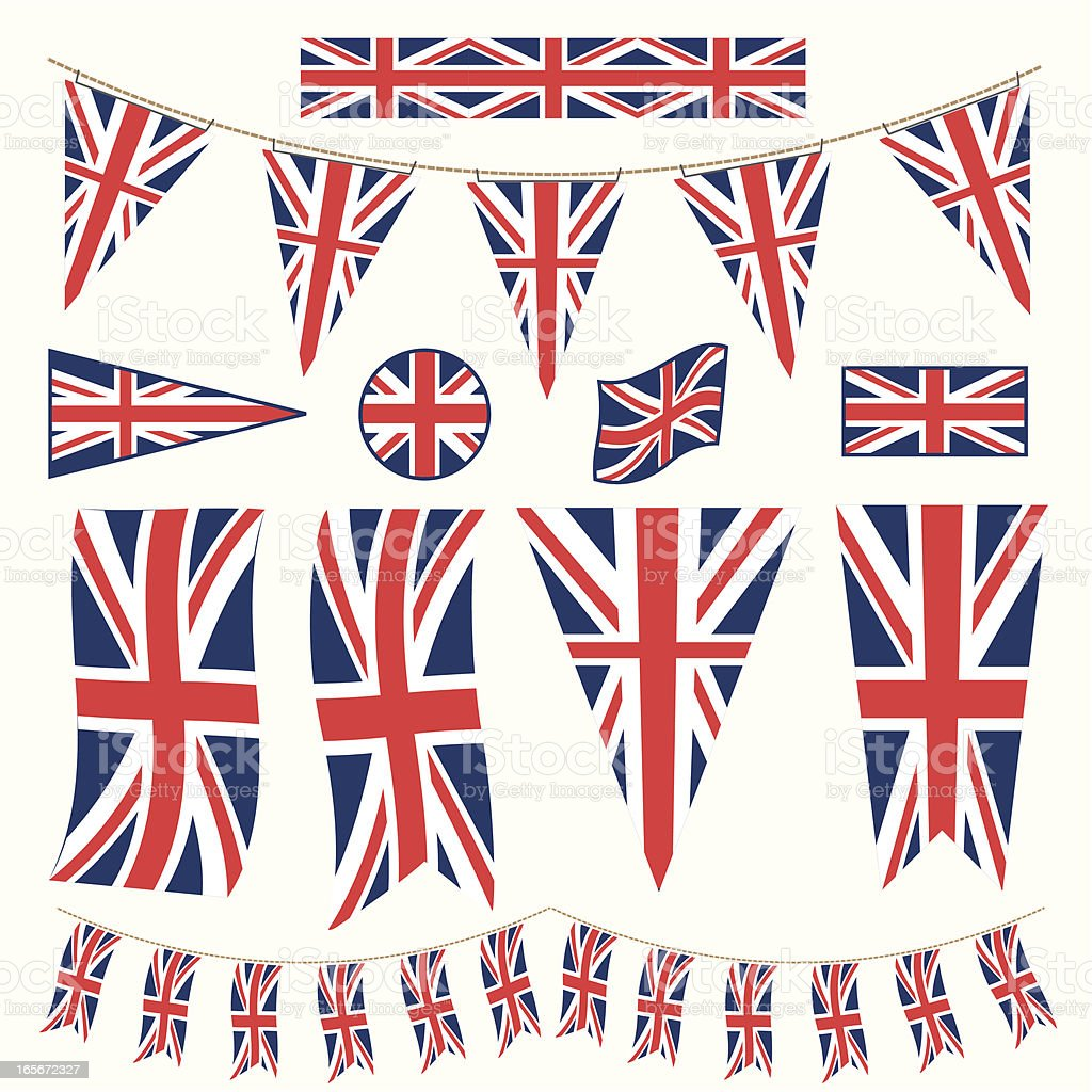 British Bunting Pennants and Flags vector art illustration