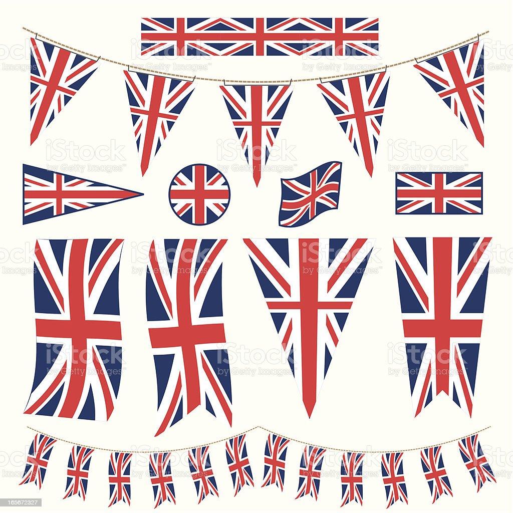 Fanions et drapeaux Bunting Britannique - Illustration vectorielle