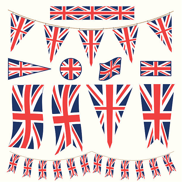 british bunting pennants and flags - uk flag stock illustrations, clip art, cartoons, & icons