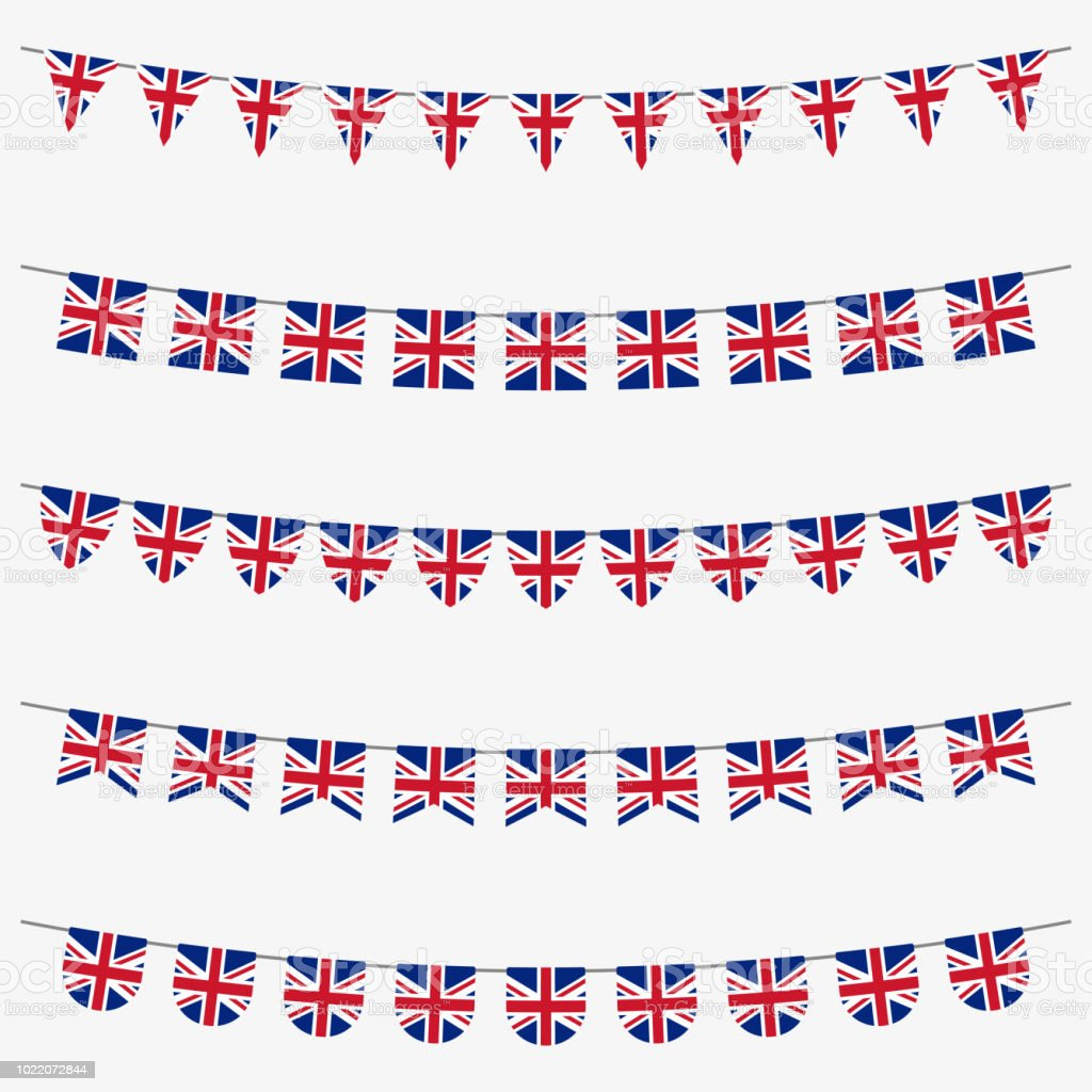 British bunting set with UK flags. Great Britain flags garland. Union...
