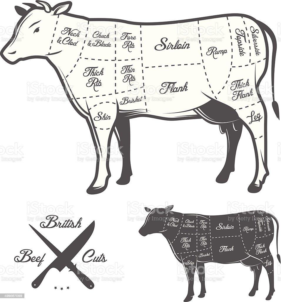 Britische Metzger Fleisch Diagramm Stock Vektor Art und mehr Bilder ...