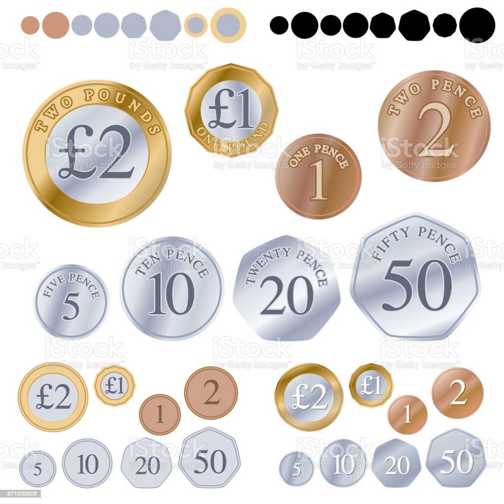 British coin set vector art illustration