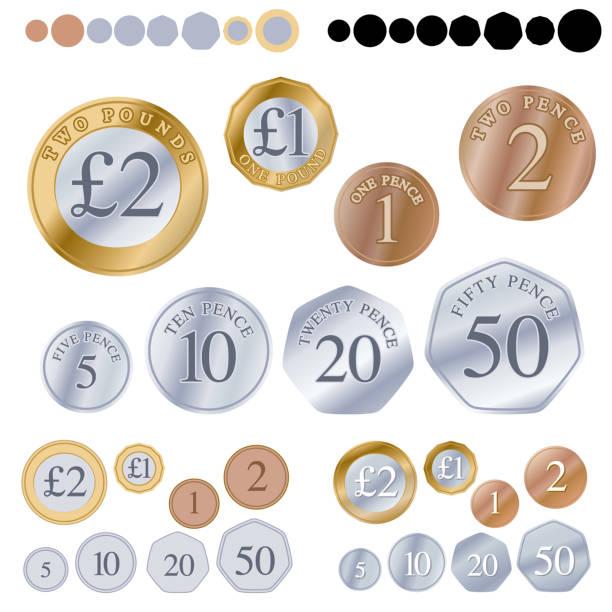 영국 동전 세트 - 영국 화폐 단위 stock illustrations