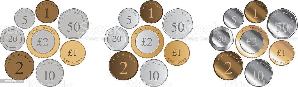 British Coins vector art illustration