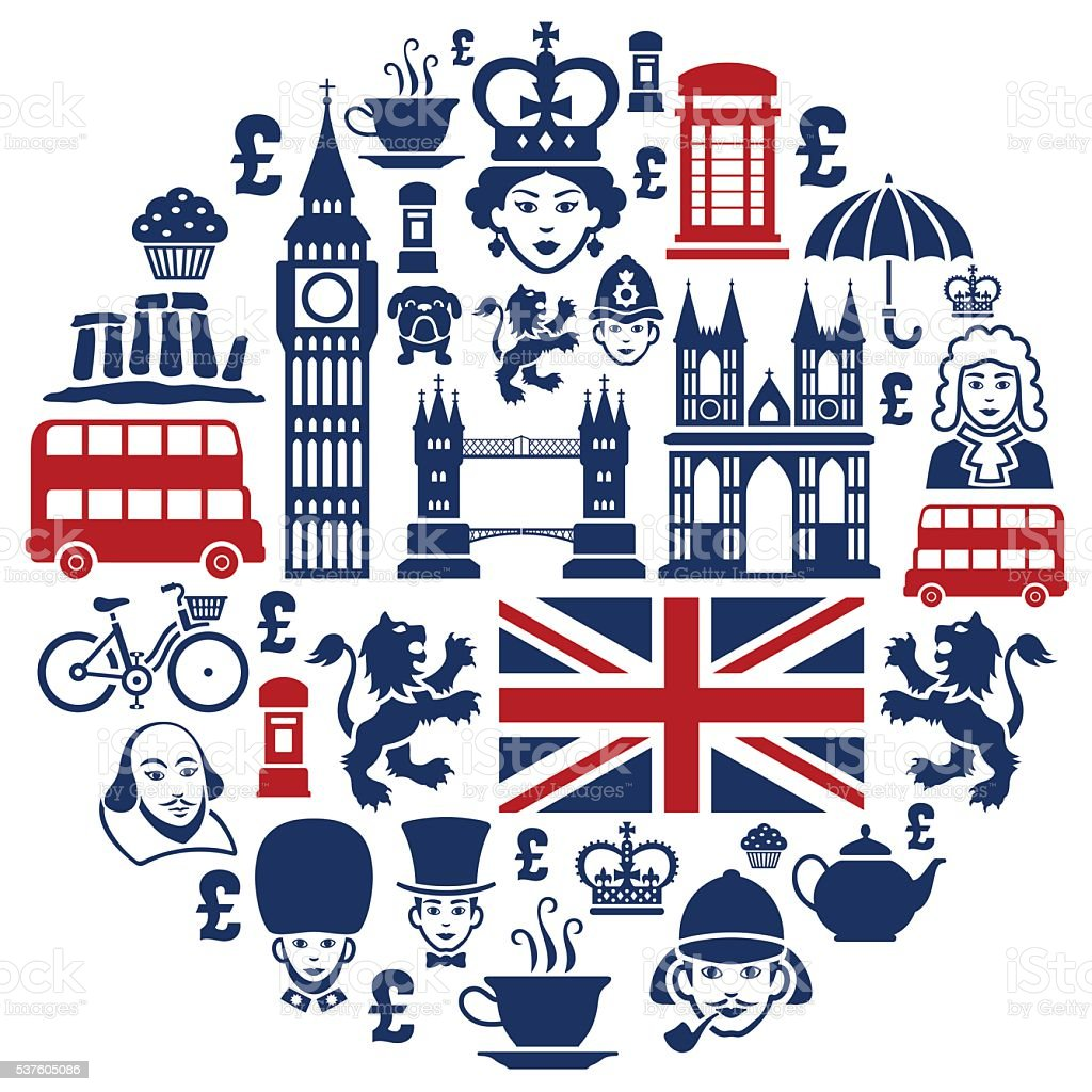 British Collage vector art illustration