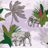 A detailed lineart modernization of British colonial wallpaper featuring tropical plans and Asian elephants on a watercolour background.