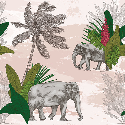British Colonial Tropical Elephant Seamless Pattern