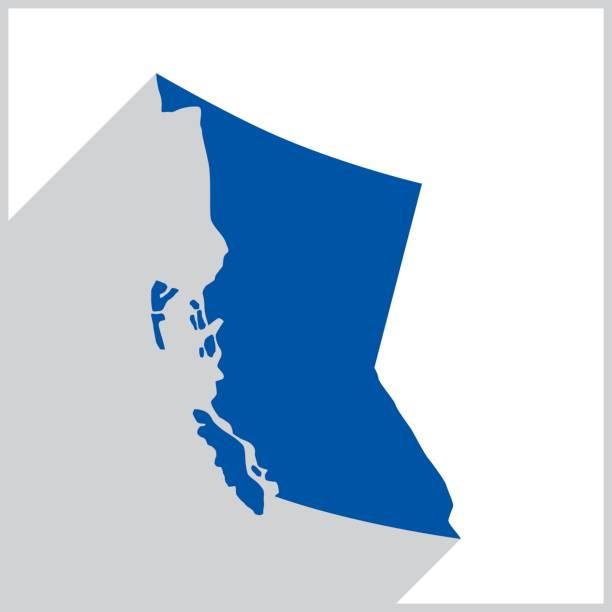 British Columbia Blue Map icon vector art illustration