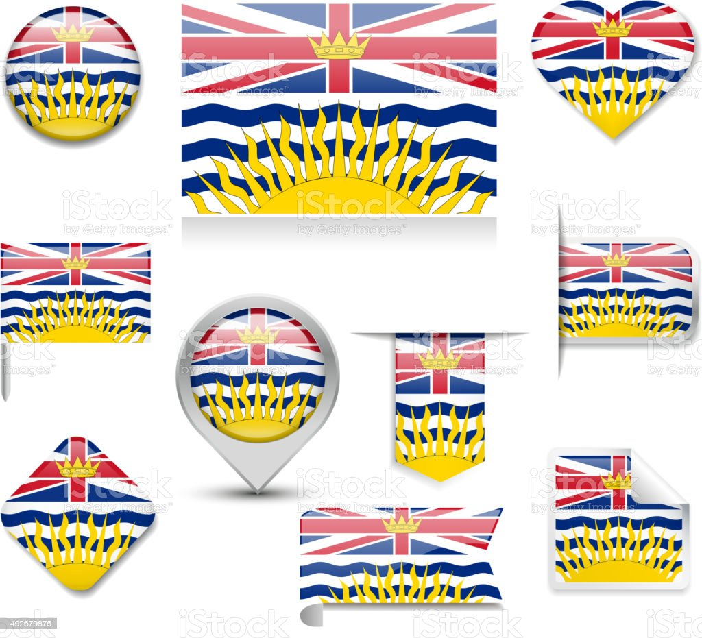 British Columbia Flag Collection vector art illustration